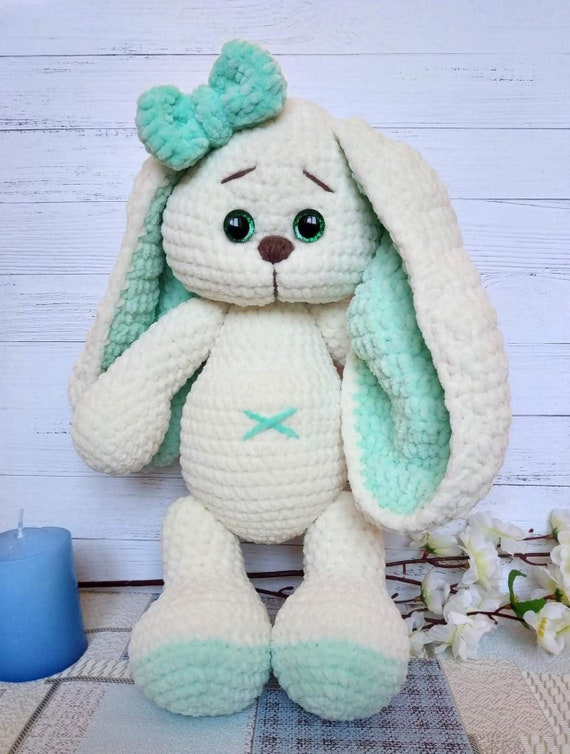 Amigurumi Crochet Easter Bunny Keepsake Colorful Bunny Easter Gift Stuffed Toy White Rabbit Holiday Rabbit Made To Order