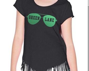 3c6492d5e80 Big Girls Fringed T-Shirt - Custom T-Shirt - Personalized T-Shirt - Camp T- shirt