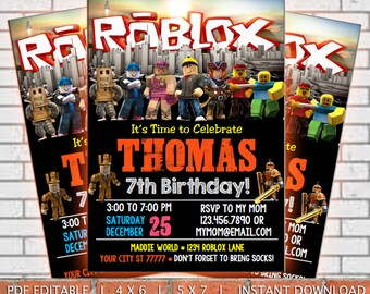 Roblox Invitation Digital Birthday Party Supplies Printables Chalkboard White
