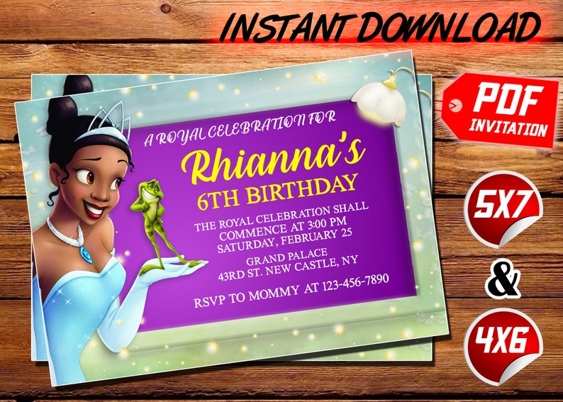 Princess and the Frog Invitation, Disney Princess Tiana Invite, The  Princess and the Frog Birthday Printed Invite, Digital download, PDF