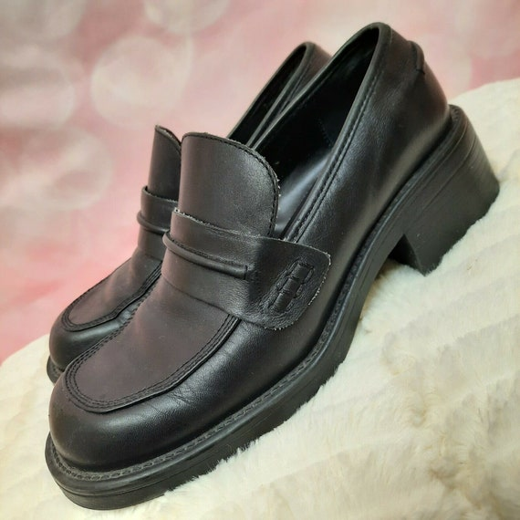 Vintage 90s Chunky Loafers Womens Size 7 black Lea