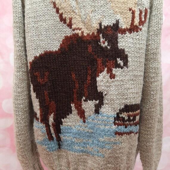 Vintage 50s Cowichan Wool Hand Knit Moose Cardigan