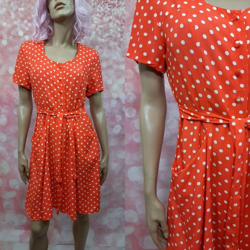 Vintage 80s Orange Polka Dot Dress Size S Short Sleeve Knee Length With Pockets