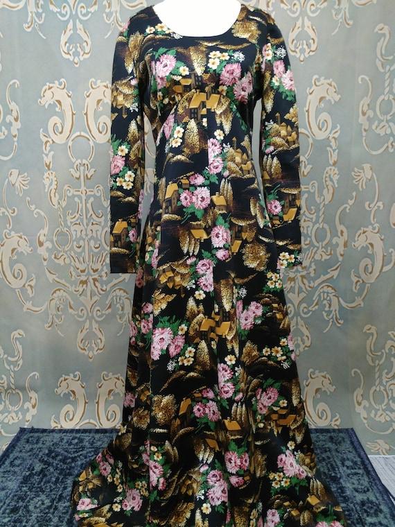 SIZE SM Vintage 1970s Black Maxi Dress Hostess Long V Neck