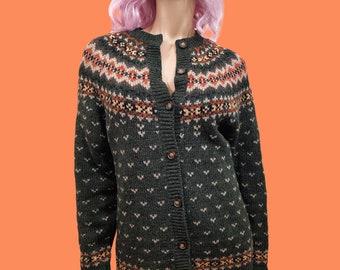 Vintage 90s Wool Oversized Fair Isle Cardigan Sweater Womens Size S Green
