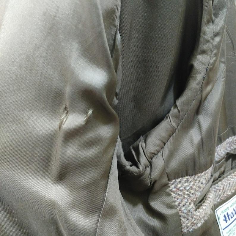 Vintage Harris Tweed Sport Coat Blazer Jacket Mens 40 R Suede Elbow Patches Herringbone Brown