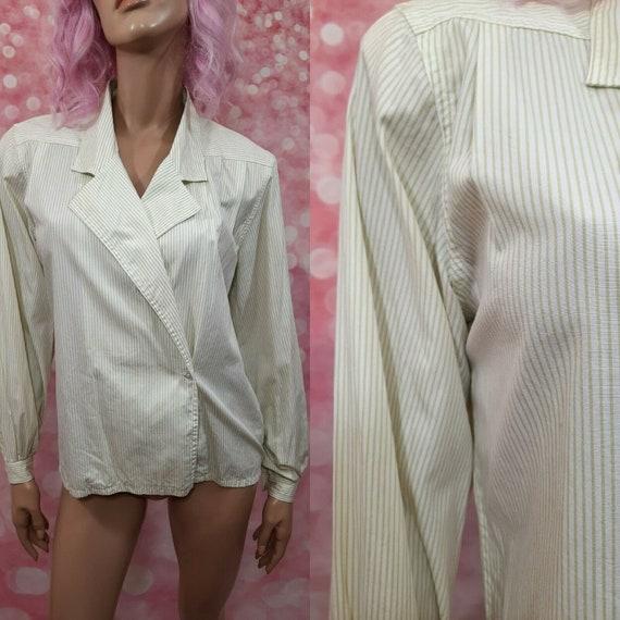 Vintage 90s Liz Claiborne Striped Cotton Blouse Sh