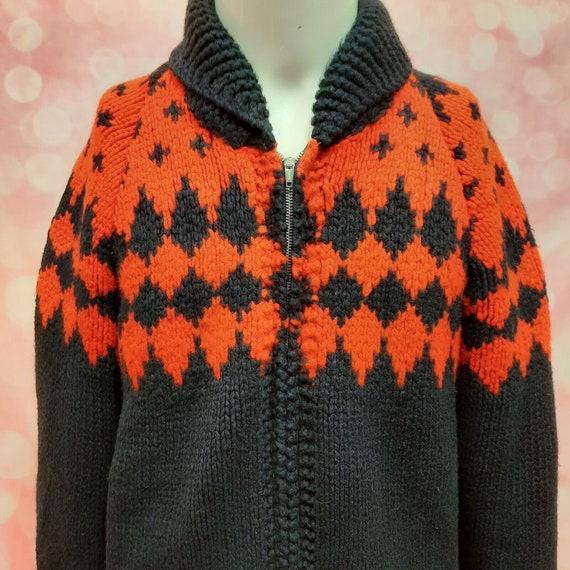 Vintage 50s Cowichan Hand Knit Cardigan Zip Front