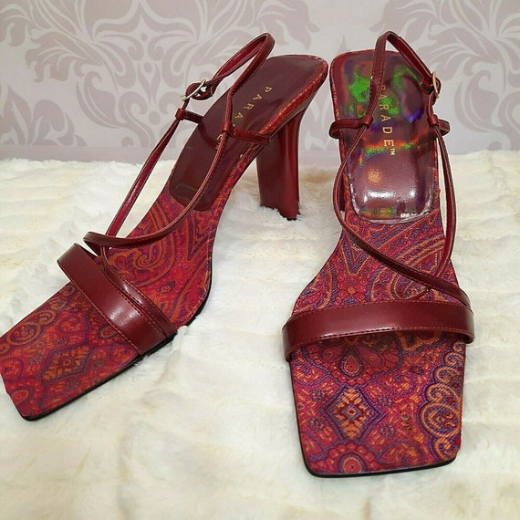 Vintage 90s Y2K Parade Sandals Heels US 10 Burgund