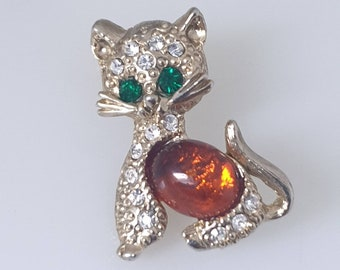 Lovely Rare Little Vintage Aurora Borealis AB Citrine Paste Jelly Belly Horse Brooch Pin