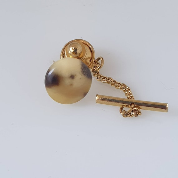 Vintage Stratton Blue Glass Tie Tack Pin Lapel Gents