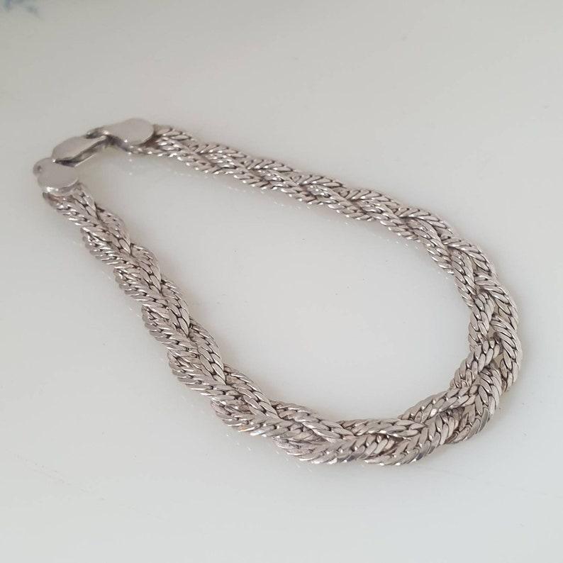 Vintage Sterling Silver Braided Bracelet Silver Woven Bracelet 925 Silver Woven Bracelet DC022
