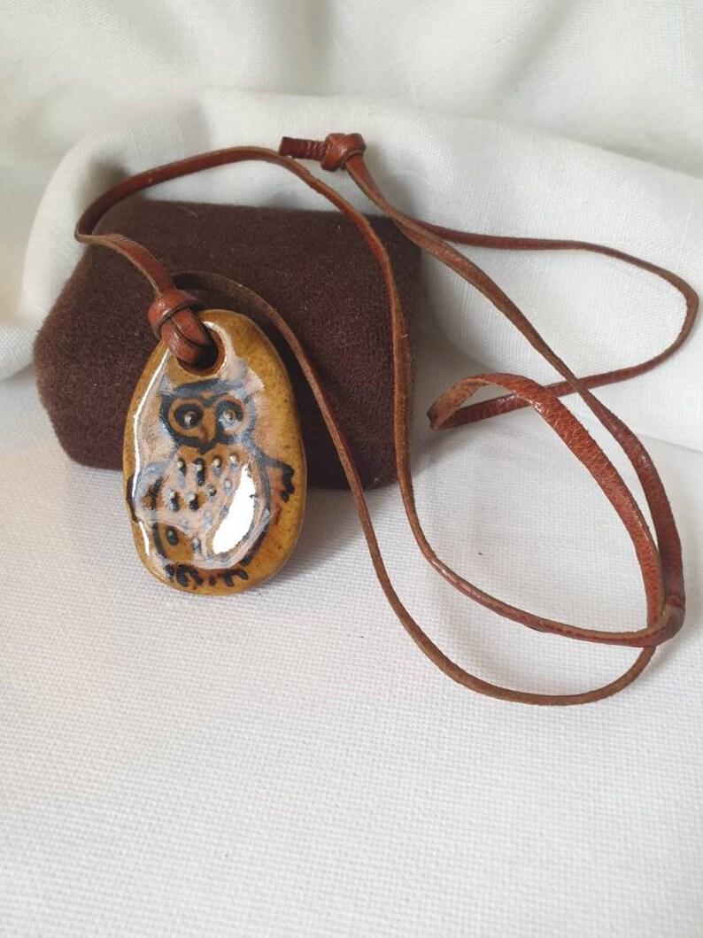Owl Necklace signed owl necklace vintage Owl necklace Studio Pottery Owl Necklace Owl ceramic pendant Godshill Pottery