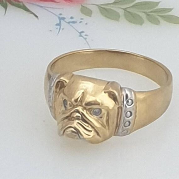 Gold Tone Bulldog Brooch Vintage Made in Hong Kong