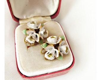 Vintage Kitsch Enamel White Rose Earrings, 60's Enamel White Rose Clip Earrings, White Enamel 3D Rose Earrings