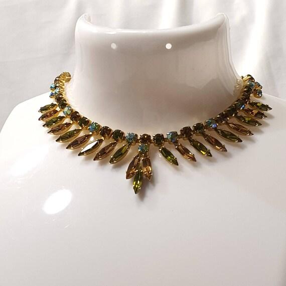 Vintage Paste Fringe Necklace, Vintage Paste Dropl