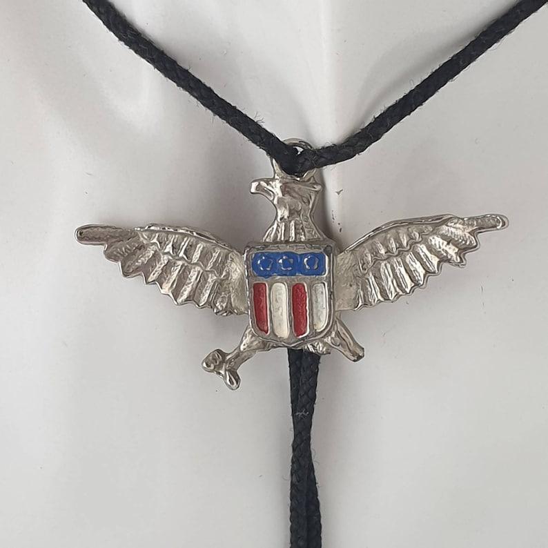 Eagle US Flag Bolo Tie Eagle Bolo Tie Vintage Bolo Tie American Flag Bolo Tie Cowboy Bootlace Bolo Tie
