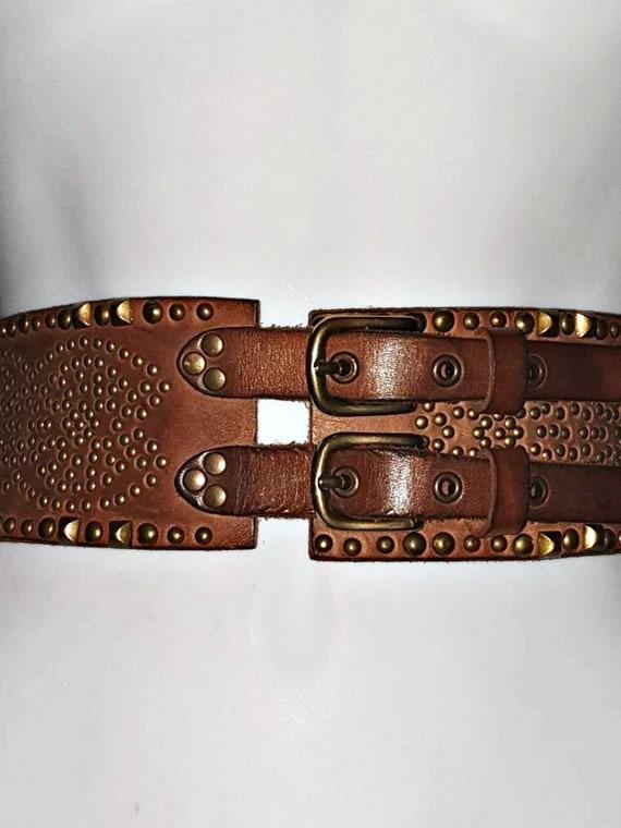 Vintage Extra Wide Double Buckle Corset Belt, Jigs