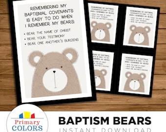 Remembering Baptismal Covenants - Bears of Baptism -- LDS Baptism gift (with talk)