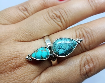 925 Sterling Silver Blue Turquoise Lucky Gemstone Ring Lucky Gemstone Round cabochon Turquoise Rings Supply Jewelry Gift Bohemian