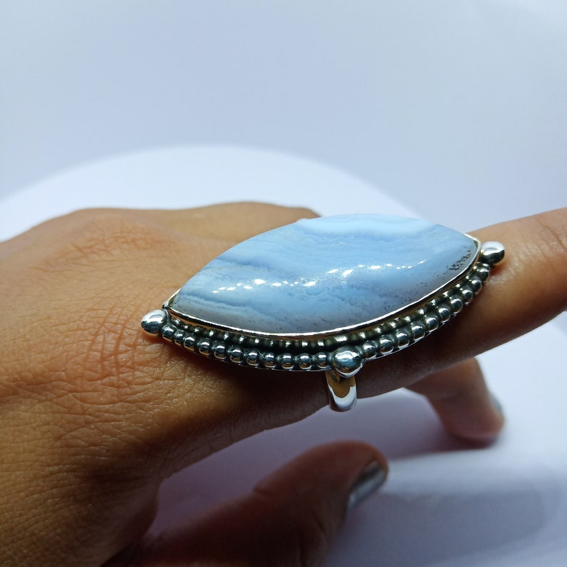 Natural Blue Lace Agate Gemstone Ring,blue Lace Agate Ring,925 Sterling Silver Ring,marquise ring,Statement Ring,Birthstone Ring,gift HER