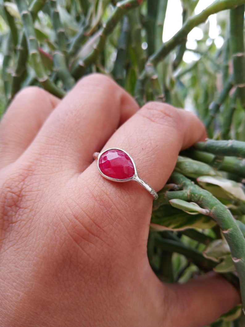 Natural ruby ring Raw ruby ring genuine dark ruby ring,July Birthstone ring Gemstone Ring Stacking Ring,FACETTED cut RING,BRIDEmaids gift