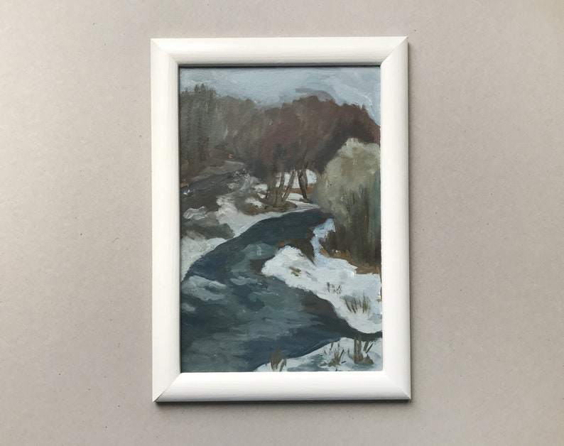 Plein Air Painting Winter Landscape Painting Spring Landscape Russian Painting Small Framed Art Sale Items Home Decore Etsy Wall Art
