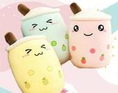 Giant Boba Milk Tea Plush | Bubble Tea Plushie Sofa Decor | Kawaii Blushing Anime  | Baby Room Decor | Stuffed Body Pillow