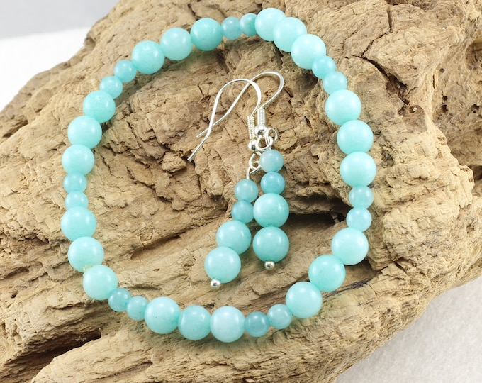 Blue Bracelet Set, Blue Earrings, Amazonite Bracelet, Crystal Earrings, Gemstone Bracelet Earrings, Crystal Jewelry Set, Gift for Mom