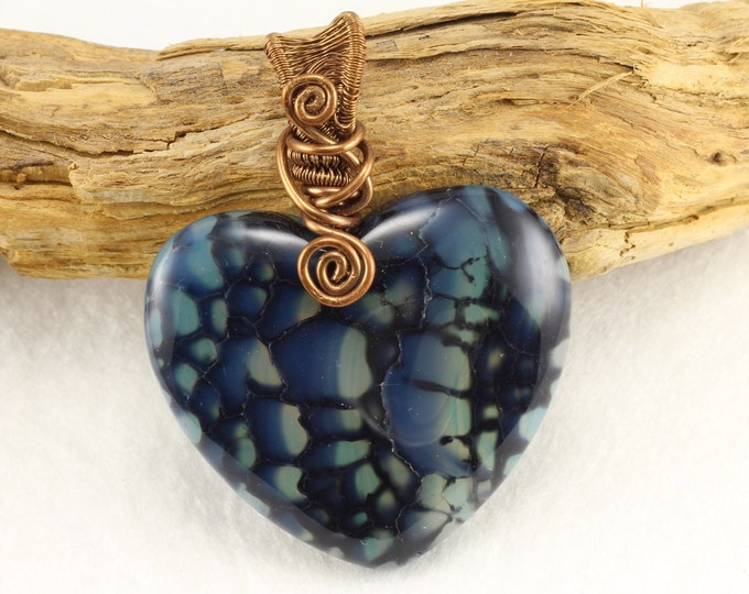 Dragon Vein Pendant, Prosperity Necklace, Crystal Necklace, Worry Stone, Blue Heart Necklace, Heart Necklace, Dragon Necklace, Wire Wrapped