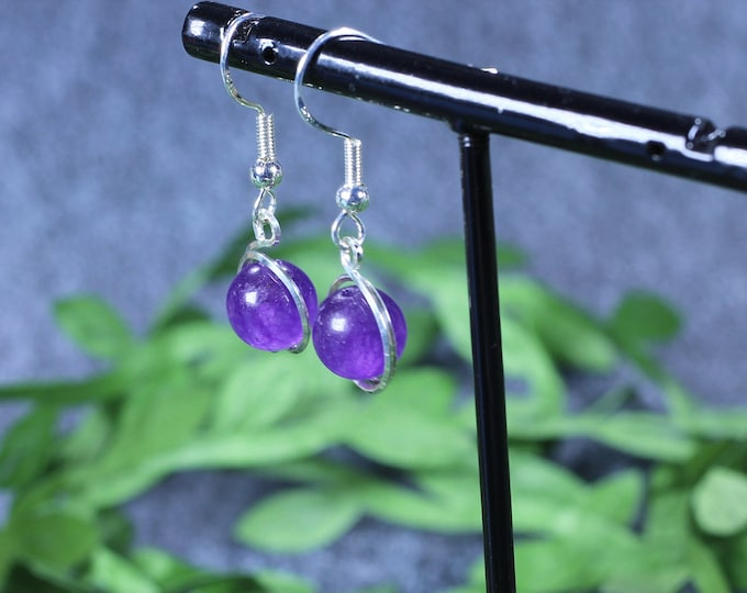 Dangle Earrings, Gifts for Mom, Gemstone Earrings, Healing Crystal, Birthday Gift, Wedding Earrings, Amethyst Jewelry, Amethyst Earrings