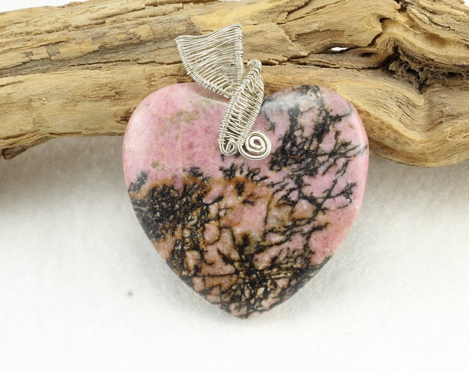 Heart Necklace, Silver Heart Necklace, Heart Pendant, Wire Wrapped Necklace, Mothers Day Gift, Pink Heart Necklace, Heart Jewelry