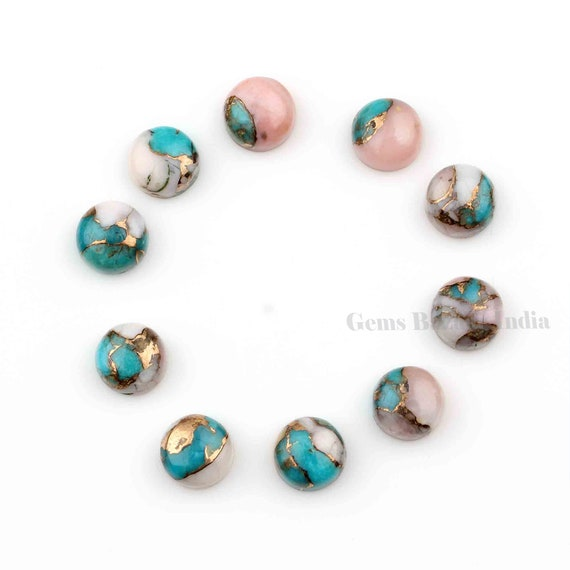 Copper Turquoise Smooth Cabochon Calibrated Cabochons 5 Pieces Pink Opal Copper Turquoise 10x14mm Smooth Rectangle Cabochon
