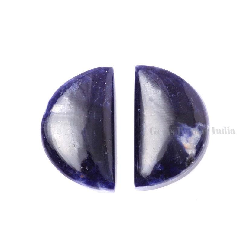 Natural Sodalite Half-moon D Shape 8x12mm and 12x20mm Gemstone Calibrated Cabochons Natural Sodalite Cabochons moon shape beads 2 pcs set,