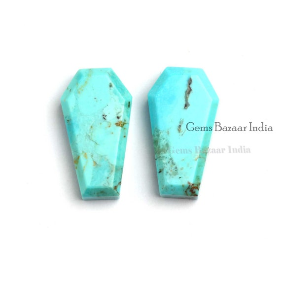 Natural Turquoise Coffin Shape Cabochon