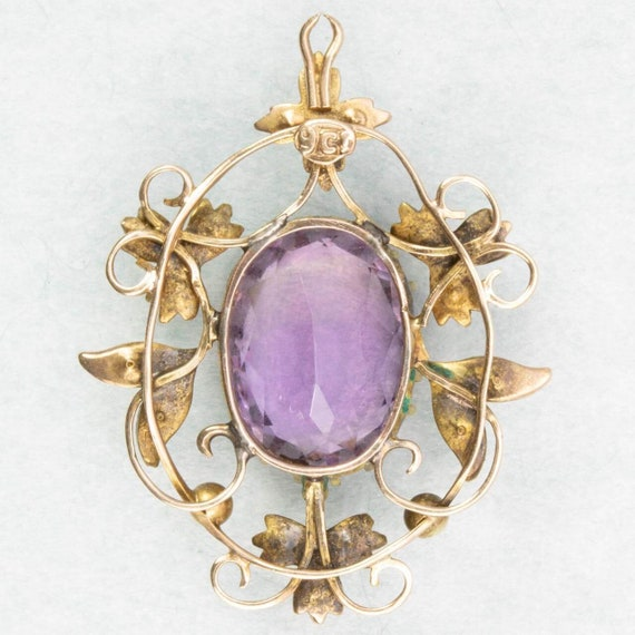 Antique Victorian 9ct Gold Amethyst & Seed Pearl … - image 2