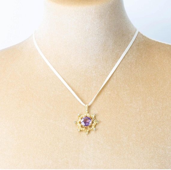 Antique 15ct Gold Amethyst & Seed Pearl Circular … - image 4