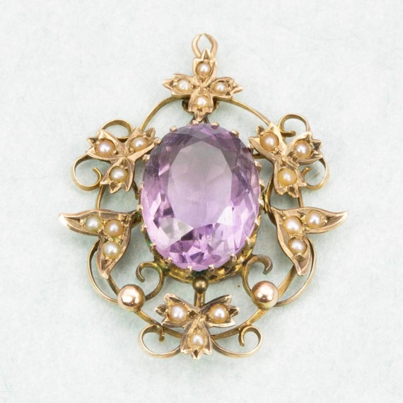 Antique Victorian 9ct Gold Amethyst & Seed Pearl … - image 3