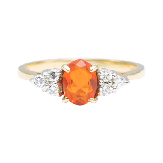 18ct Gold Fire Opal and Diamond Cluster Ring | Mex
