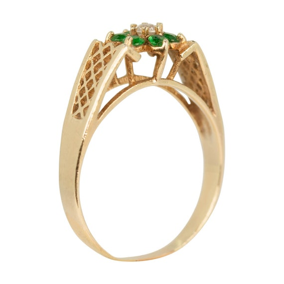 9ct Gold Emerald & Spinal Ring | Emerald Cluster … - image 3