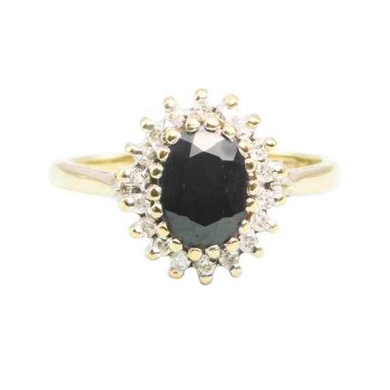 9ct Gold Sapphire and Diamond Cluster Ring | Vinta