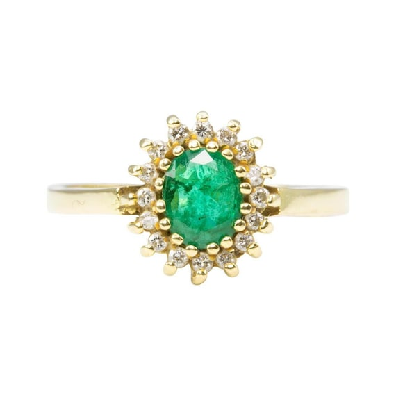 18ct Gold Emerald & Diamond Cluster Ring | Vintage