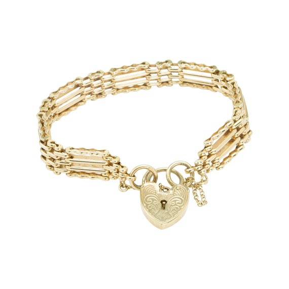 "9ct Gold 7"" 4 Bar Gate Bracelet with Heart Padlock"