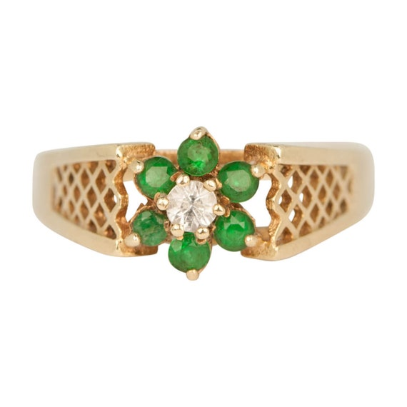 9ct Gold Emerald & Spinal Ring | Emerald Cluster … - image 1