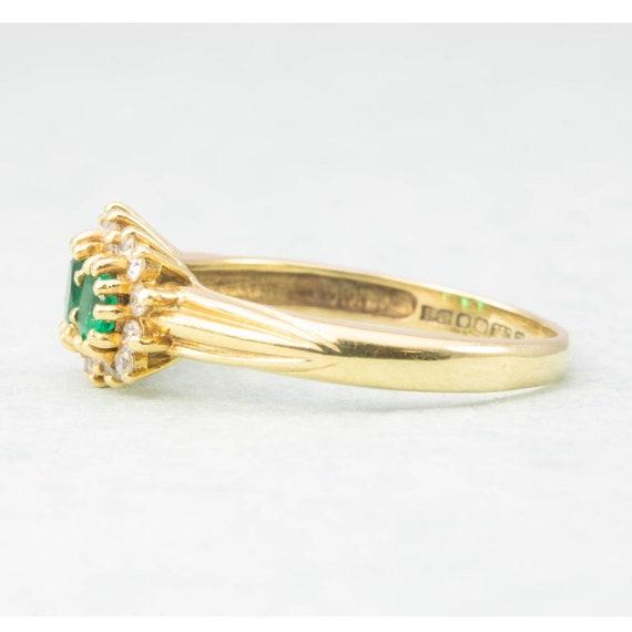 18ct Gold Emerald & Diamond Triple Cluster Ring |… - image 3
