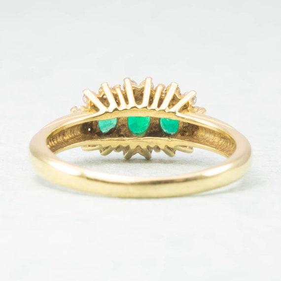 18ct Gold Emerald & Diamond Triple Cluster Ring |… - image 5