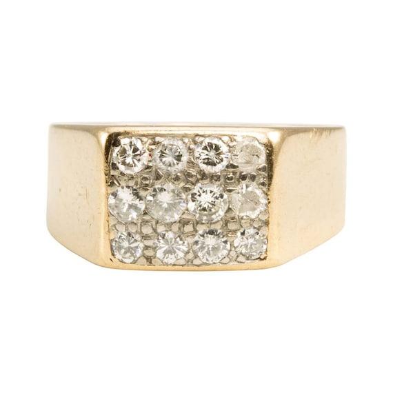 9ct Gold Diamond Signet Ring   9k Gold Mens Diamon