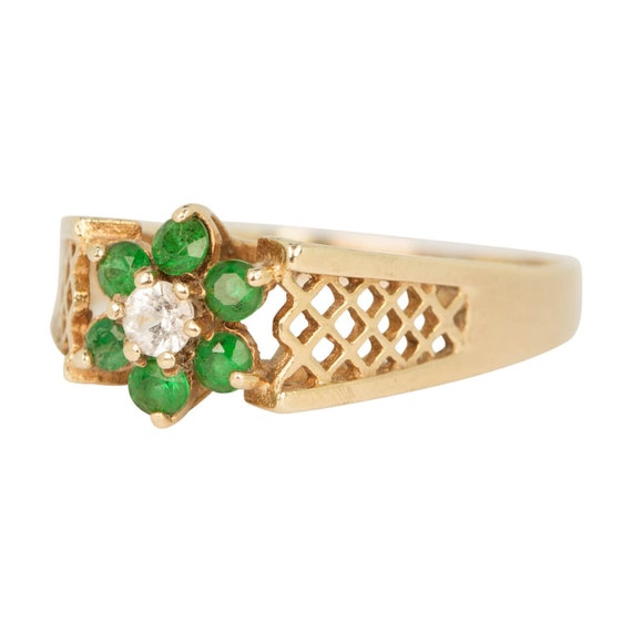 9ct Gold Emerald & Spinal Ring | Emerald Cluster … - image 2