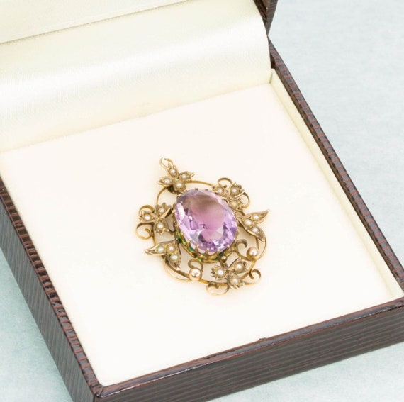 Antique Victorian 9ct Gold Amethyst & Seed Pearl … - image 4