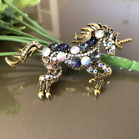 1950s Horse pinBrooch Pair Scatter-Pin Equestrian Small Animal Rhinestone Red Eye Southwest Cowboy Ranch 2 Piece SET Vintage